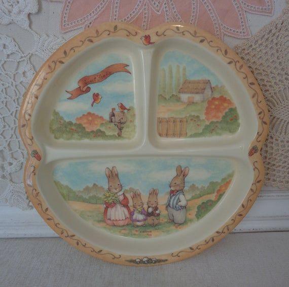 Vintage Pecoware Melamine Rabbit Childrens Divided Plate, Peco Melamine Ware Bunny Divided Baby Dish #dishware