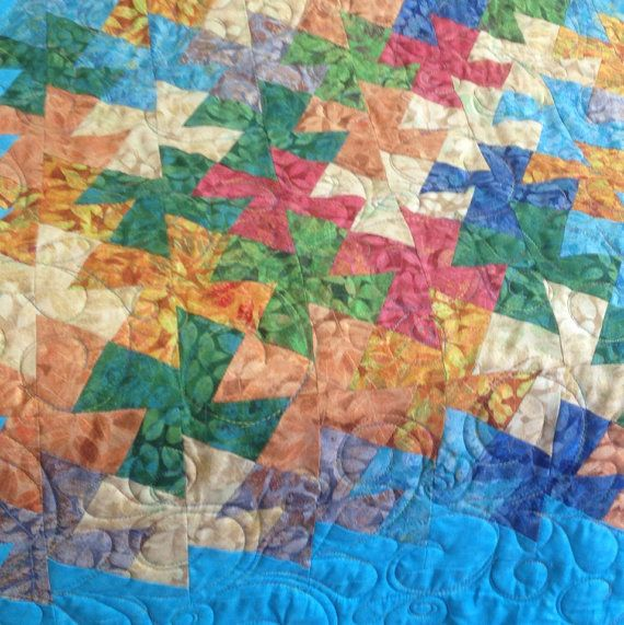 Multcolor twister quilt for a baby. by StrawberryPatchquilt, $30.00