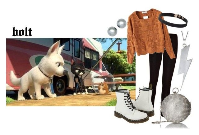 """""""Disney Films: Bolt"""" by sunnyflgirl ❤ liked on Polyvore featuring Disney, WearAll, Dr. Martens, Chicnova Fashion, Black Pearl, Anne Klein and ALDO"""