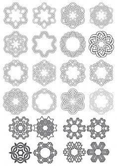 Ornamen Islami Cdr : ornamen, islami, Geometric, Circle, Ornaments, Vector, Download, 3axis.co, Circle,, Free,, Ornament