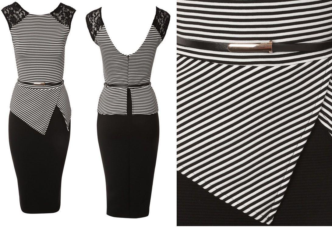 Stripe belted peplum dress