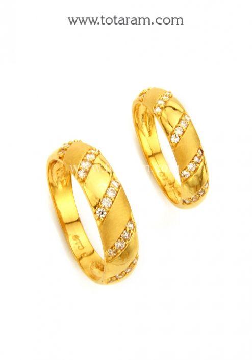 22K Gold Couple Wedding Bands With Cz Totaram Jewelers Buy Indian