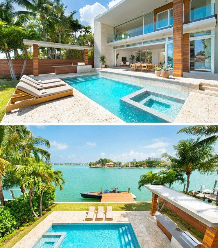 aménagement extérieur maison avec piscine extérieure, bains de ...