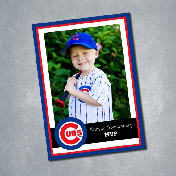 15 Chicago Cubs And MLB Team Custom Baseball Card Birthday Invitation Two Sided