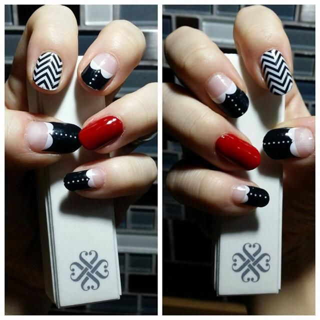 Mix up Black and White Chevron with French Tip Bows! http ...