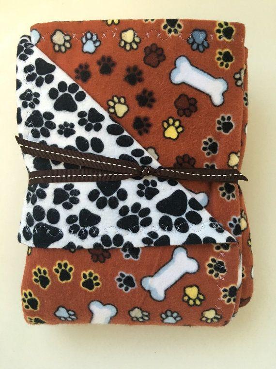 Doggy Dream Blanket Brown Dog Theme Bones And Paws With Etsy Dream Blanket Brown Dog Dog Blanket