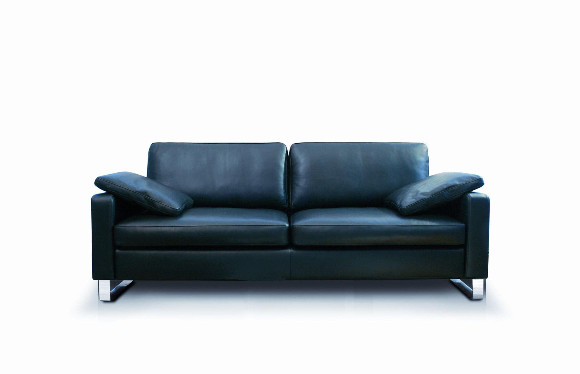 modernes Sofa | Leder | schwarz | Metallkufen - bei Möbel Morschett ...