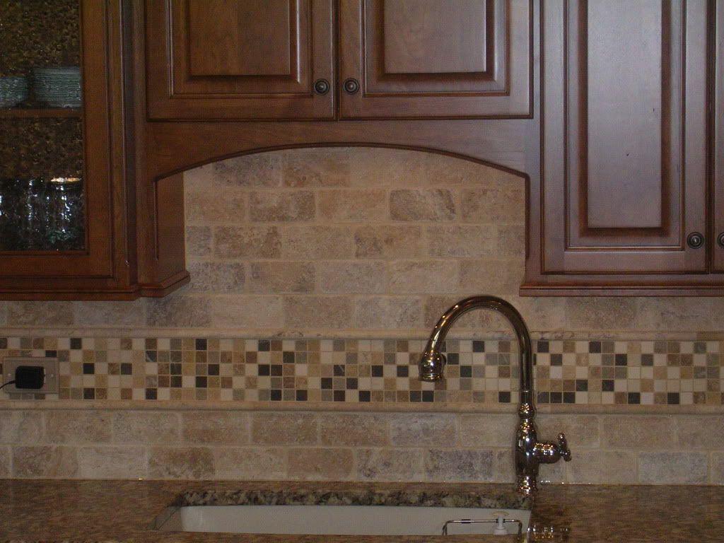 natural stone subway tile backsplash