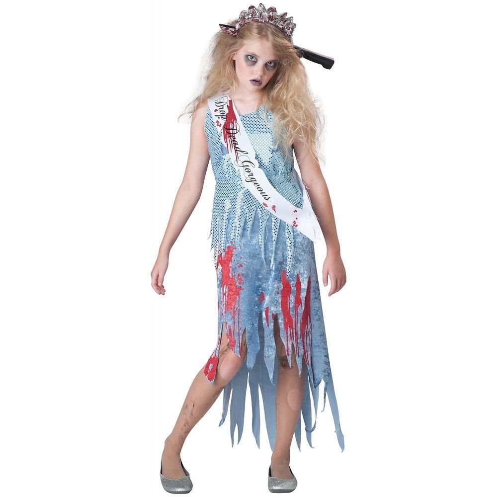 Zombie Prom Queen Costume Tween & Kids Scary Halloween Fancy Dress ...