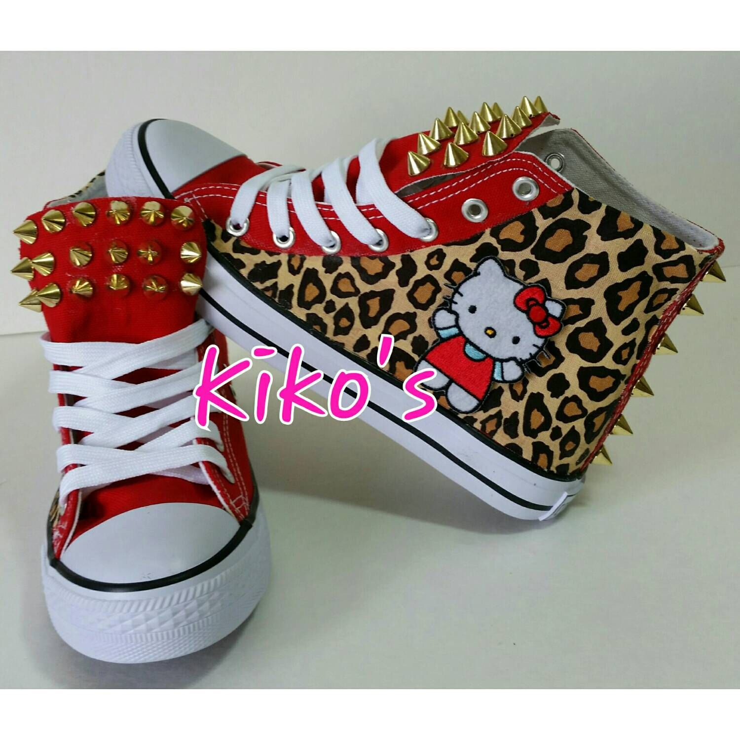 Hello Kitty Leopard Black or Red Converse with gold fashion chains and studs Women sizes by KikosDesigns on Etsy https://www.etsy.com/listing/191888942/hello-kitty-leopard-black-or-red