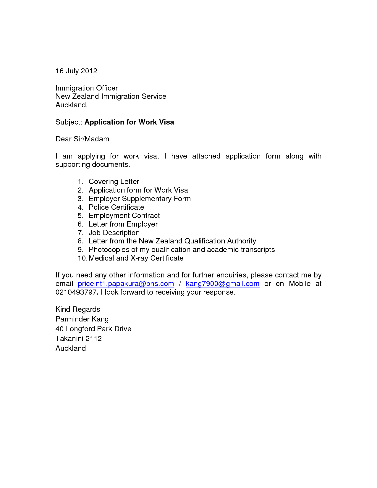 Cover Letter For Visa Application New Zealand Essay Potna ...