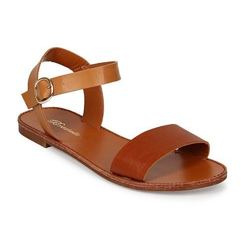 Kaya Tan Flat Ankle Strap Sandal with One Band