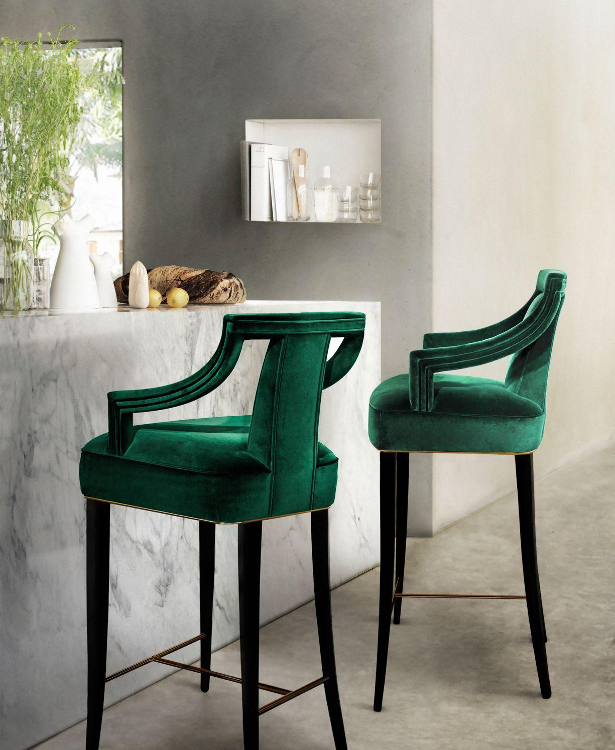 EANDA Bar Chair Modern Design By BRABBU Is A Velvet Upholstered Counter  Stool Ideal For A