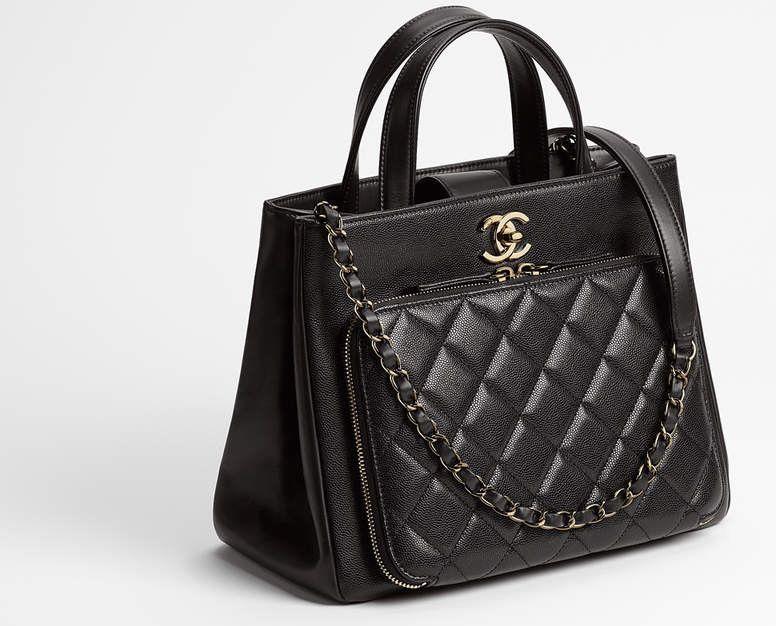 4ad10e638e7b27 CHANEL Large Business AFFINITY Shopping Tote Bag Black Caviar Leather