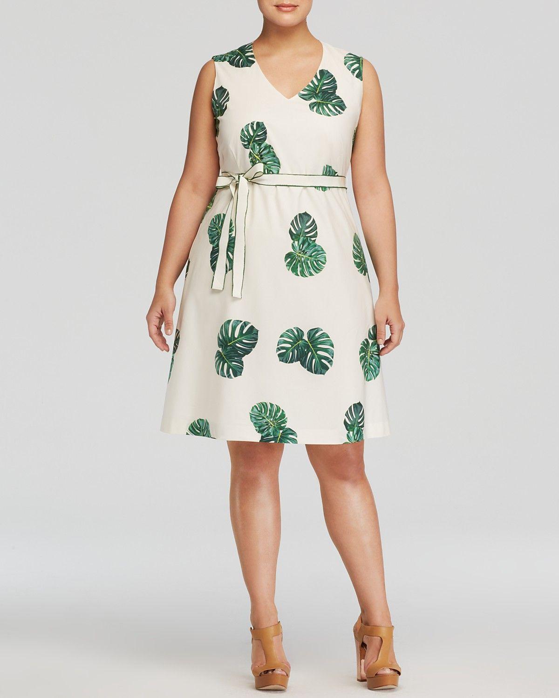 Marina Rinaldi Plus Size Doralic Palm Leaf Print Dress