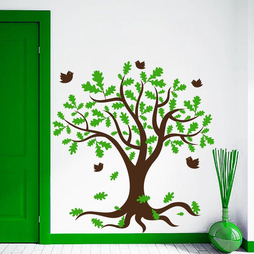 Large tree birds kids room wall decals children nursery art vinyl