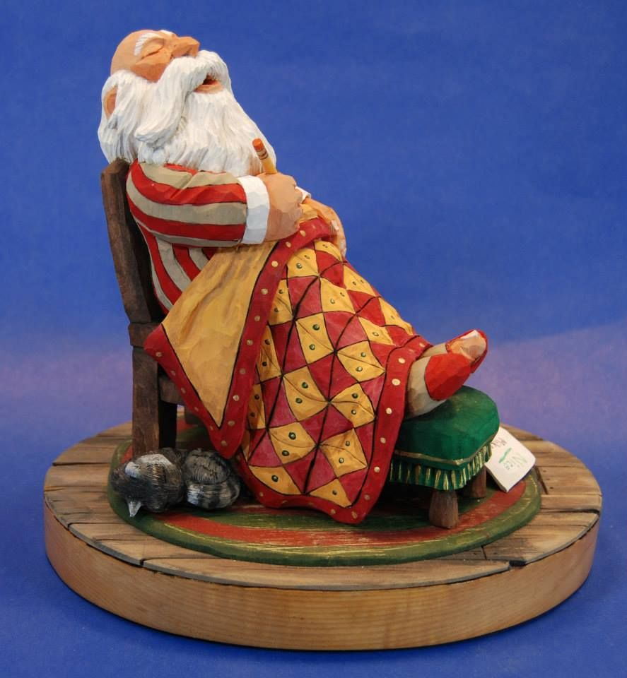 Quot sleeping santa carved by steve prescott one of the