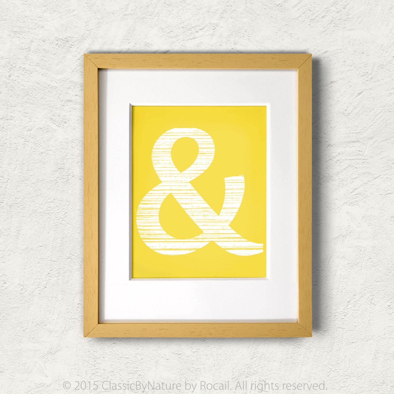 Ampersand DIY Digital Printable Art / 8x10 Mustard Yellow and White ...