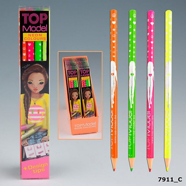 This Top Model neon pencil set perfectly complements the entire Top Model range of colouring books.