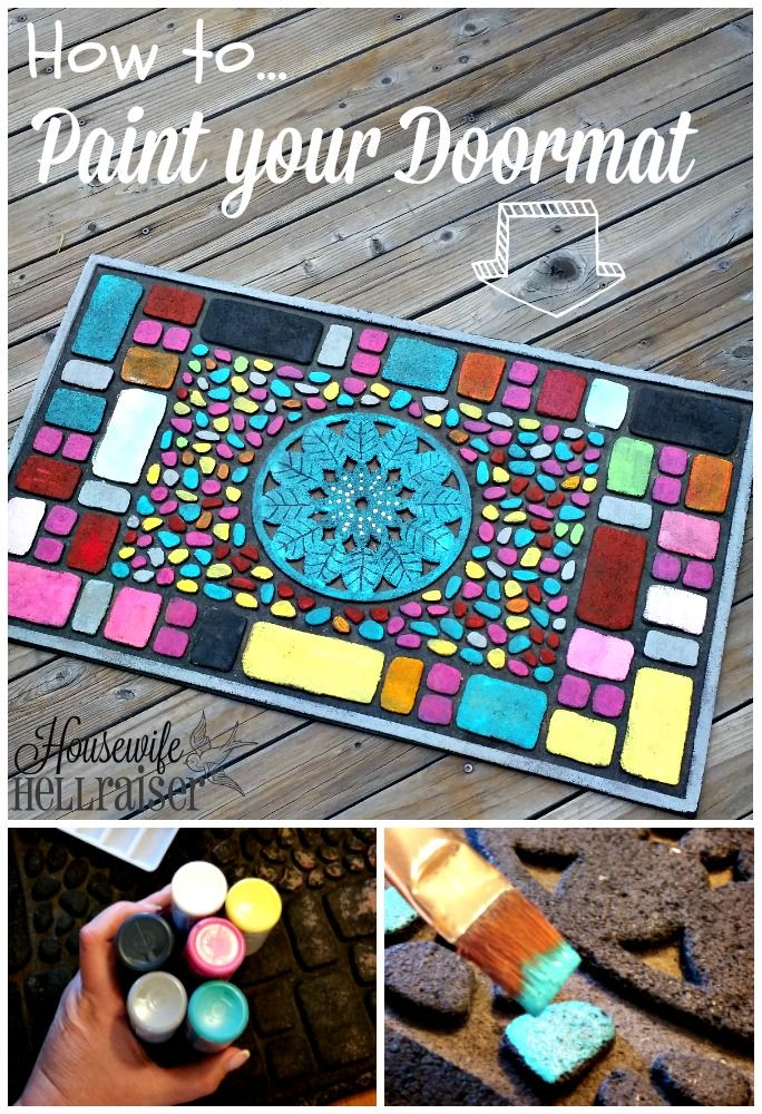 This Fun Diy Painted Door Mat Is A Quick And Easy Project To Do With Your Kids Freshen Up Your Door Mat With Acryl Door Mat Diy Rubber Door Mat