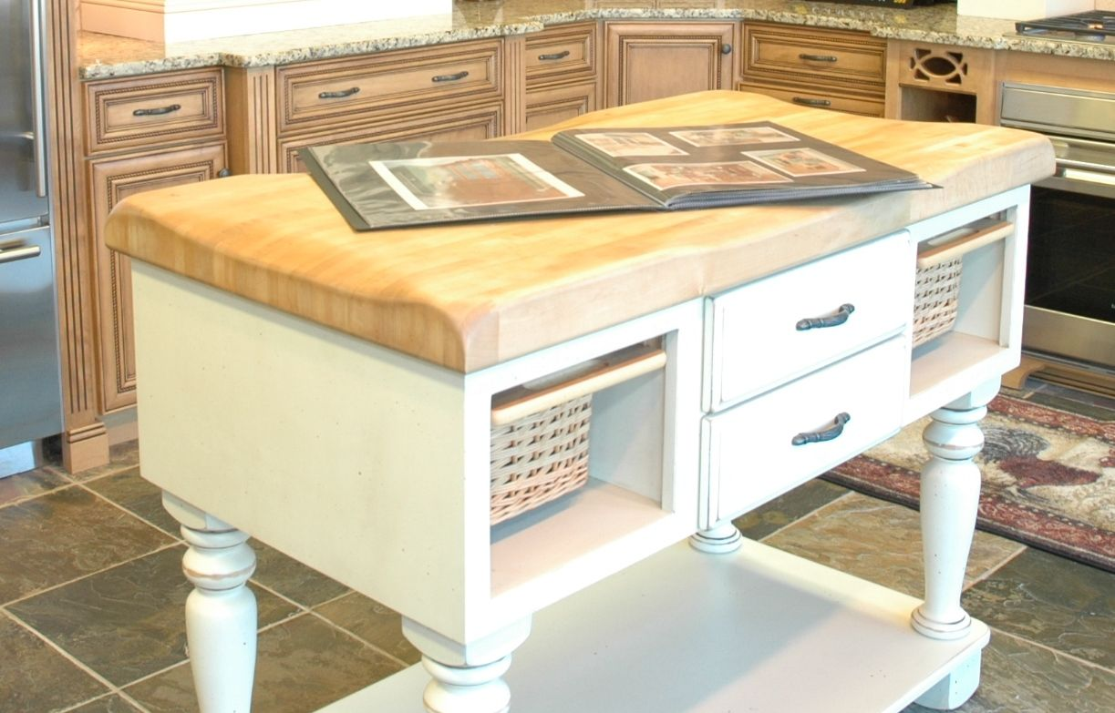Omega Cabinetry Butcher Block Island With Antique Cream Base ...