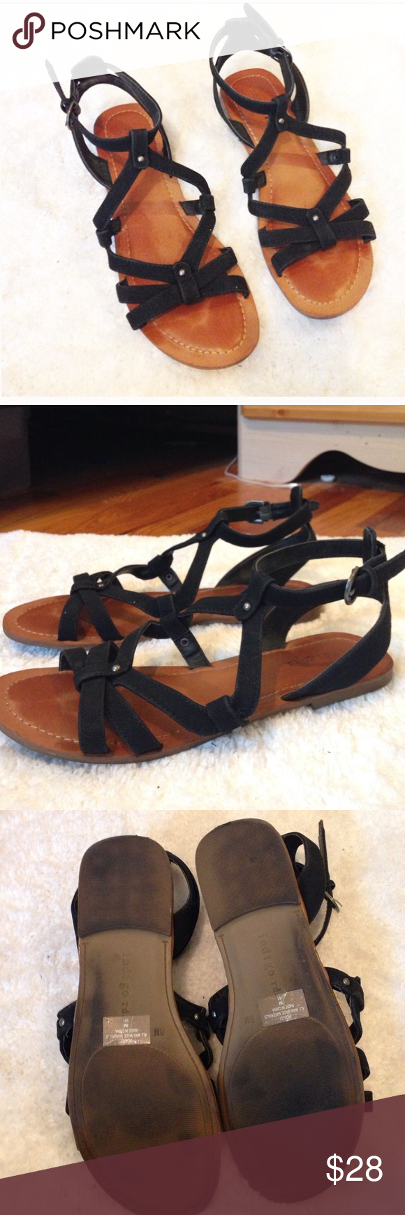 Black sandals at dsw -  Gladiator Black Sandals Worn Once Very Comfortable And Stylish Black Gladiator Strappy Sandal With Tan Sole Purchased From Dsw Size Shoes