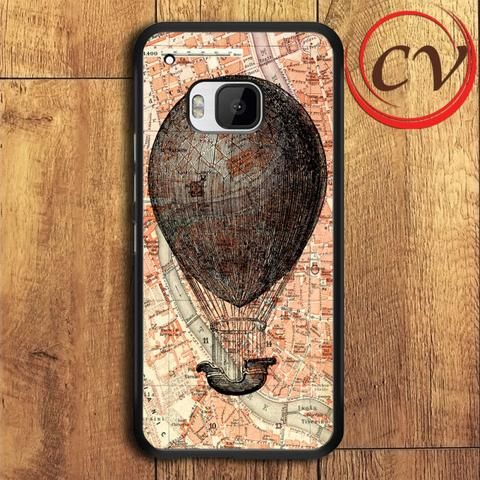 World Map Hot Air Balloon HTC One M9 Black Case
