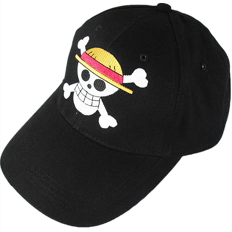 061d03574 Cap · One Piece Cosplay Straw Hat Pirates Monkey D Luffy Skull Heads Logo  Baseball ...