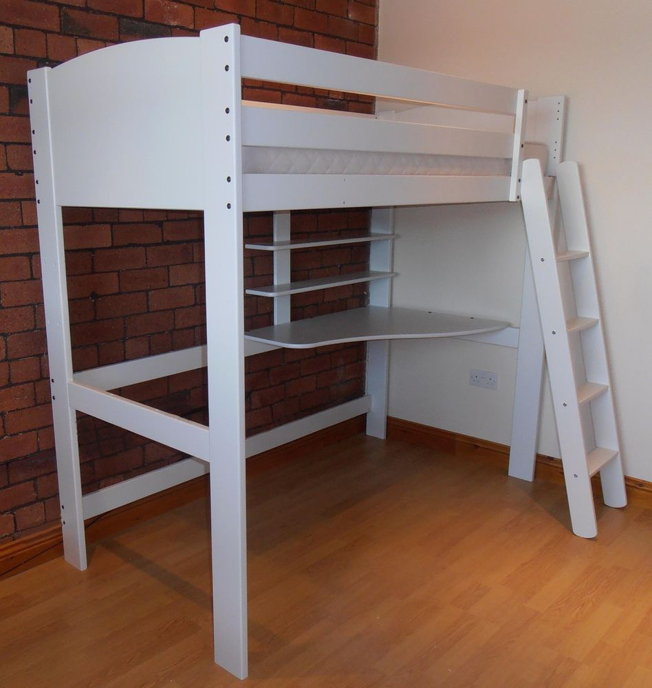 Loft bed with desk white  New Childrens HighSleeper Solid Pine Bed White With Desk u  x
