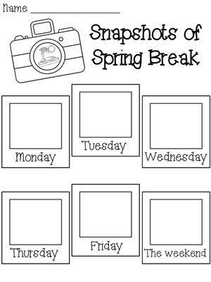 Spring Break activities: FREE Snapshots of Spring Break