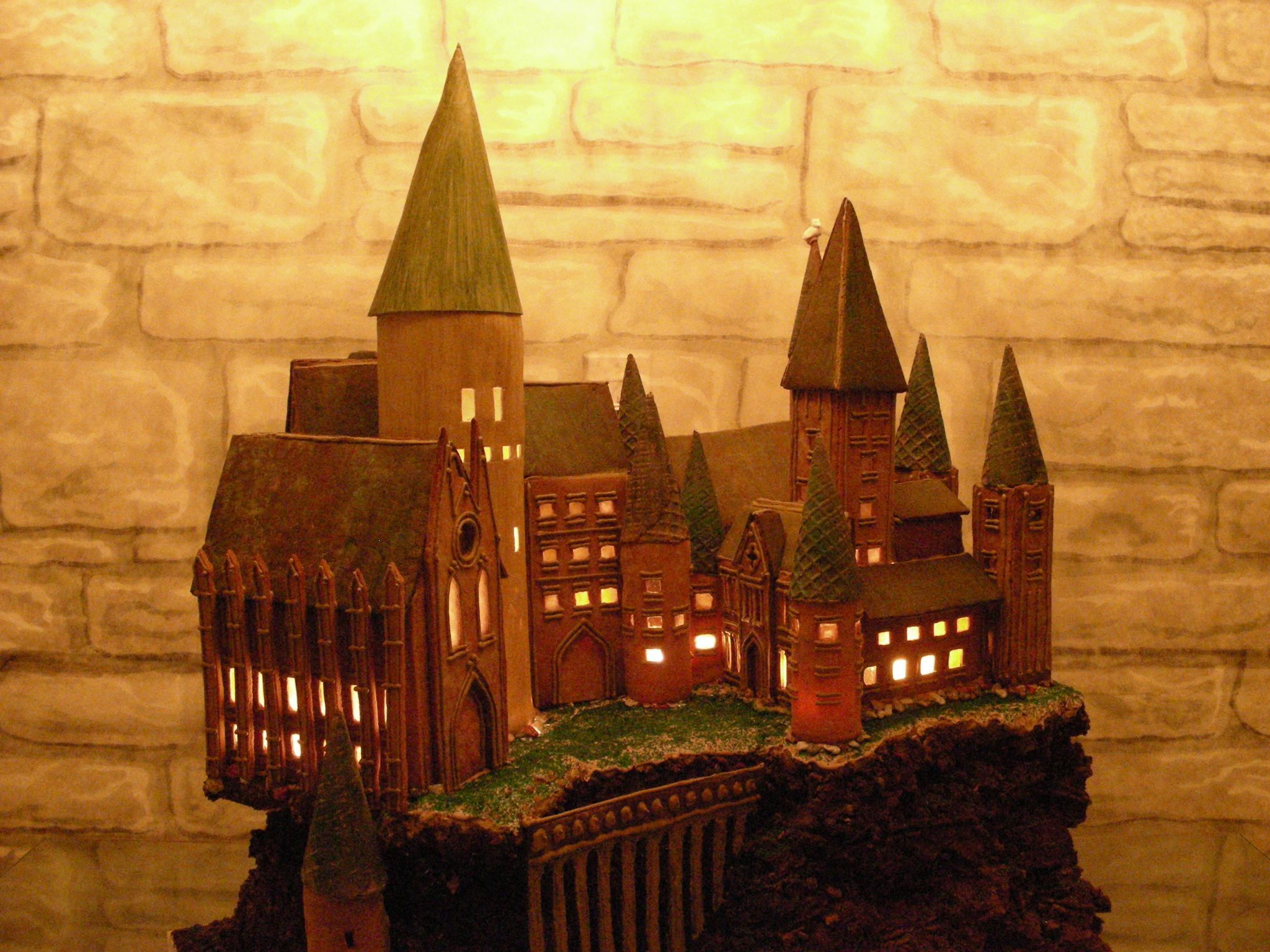 Hogwarts Gingerbread Castle -- complete with internal lighting.  Amazing!  (Sadly, the article where I found it did not have the artist's name.)