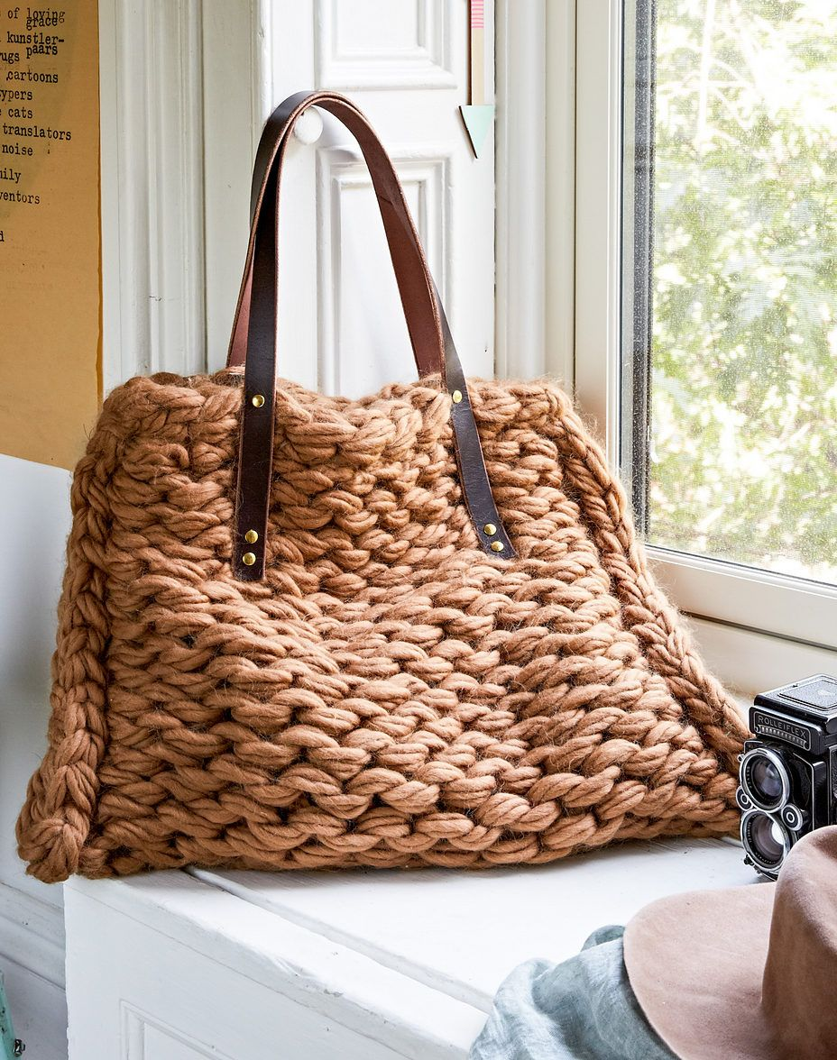 Knitting Pattern for Arm Knit Tote Bag - This purse is 24″ by 19 ...