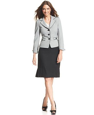 Le Suit Skirt Suit Tweed Jacket Pleated Hem Skirt Womens Suits