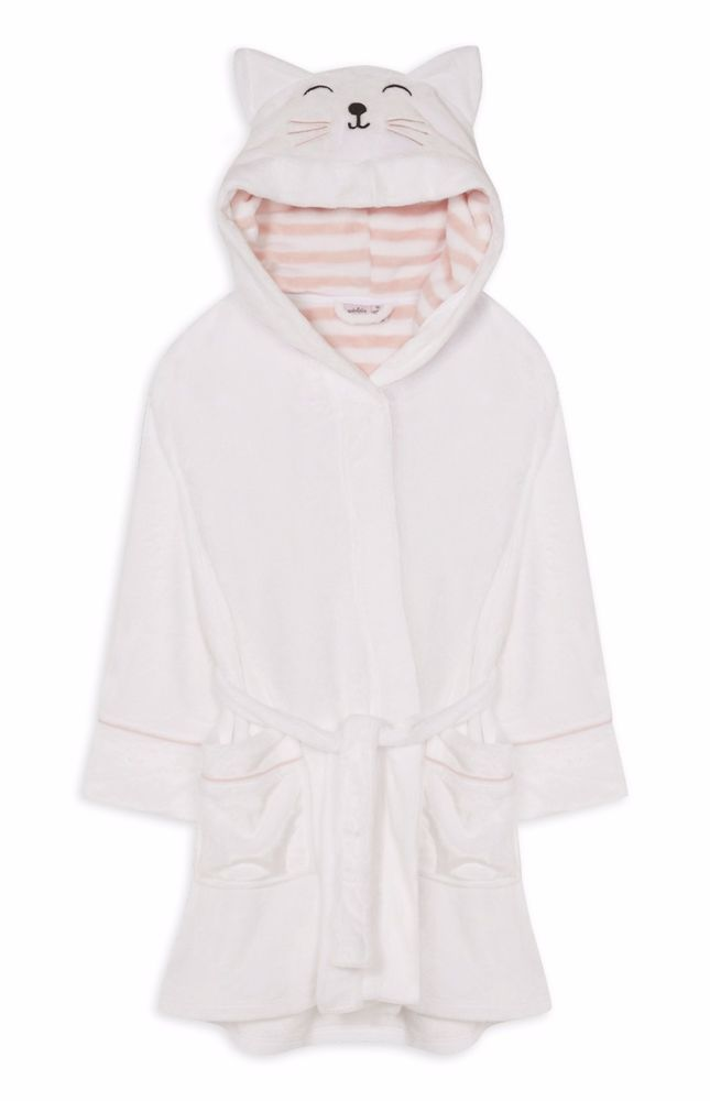 Ladies CAT Dressing Gown Hooded Bathrobe Bath Robe Primark GABRIELLA ...