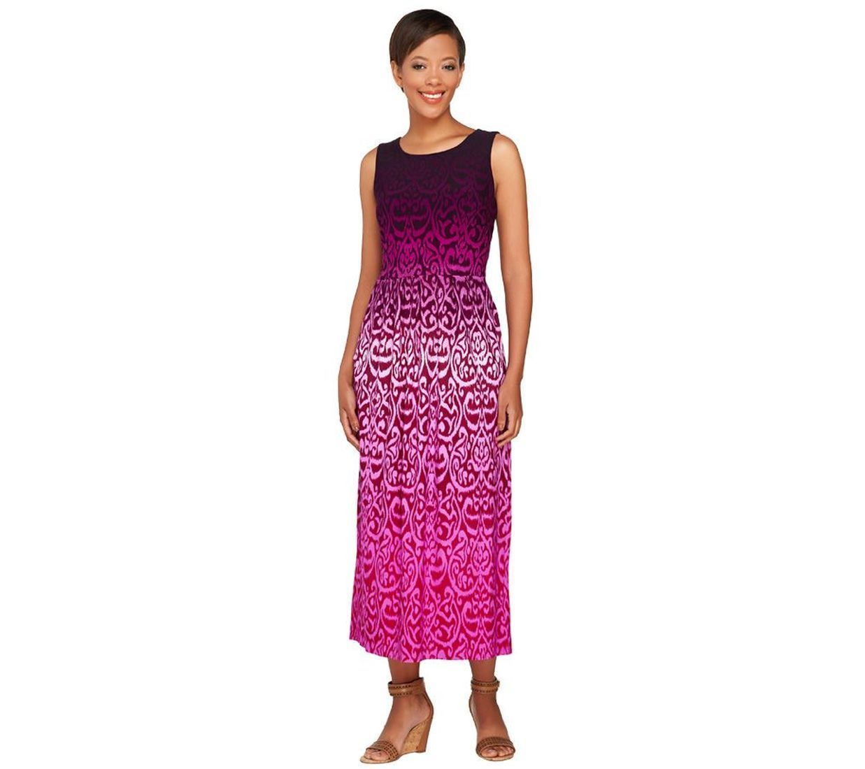 Linea Louis Dell\'Olio Cute Printed Slvless Midi Dress Magenta 12 NEW ...