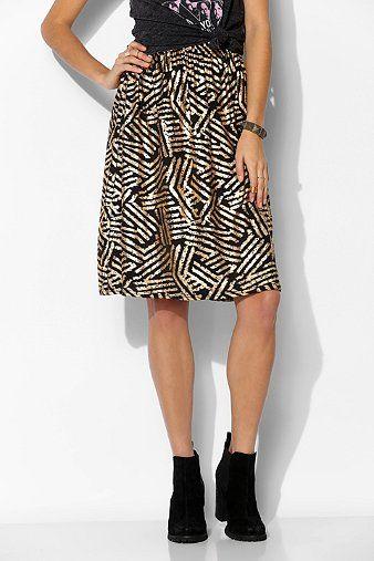 One & Only X Urban Renewal Knit Metallic-Print Skirt