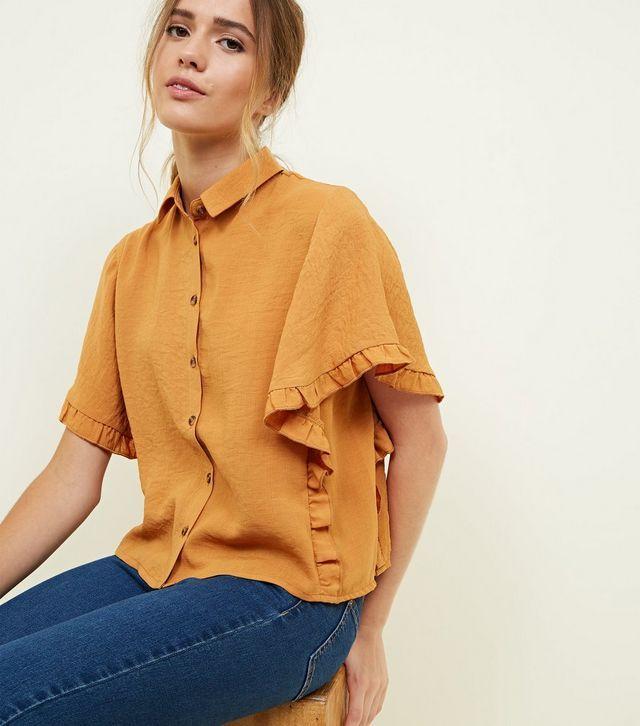 dc925d7e39612 Cameo Rose Mustard Collared Frill Trim Shirt