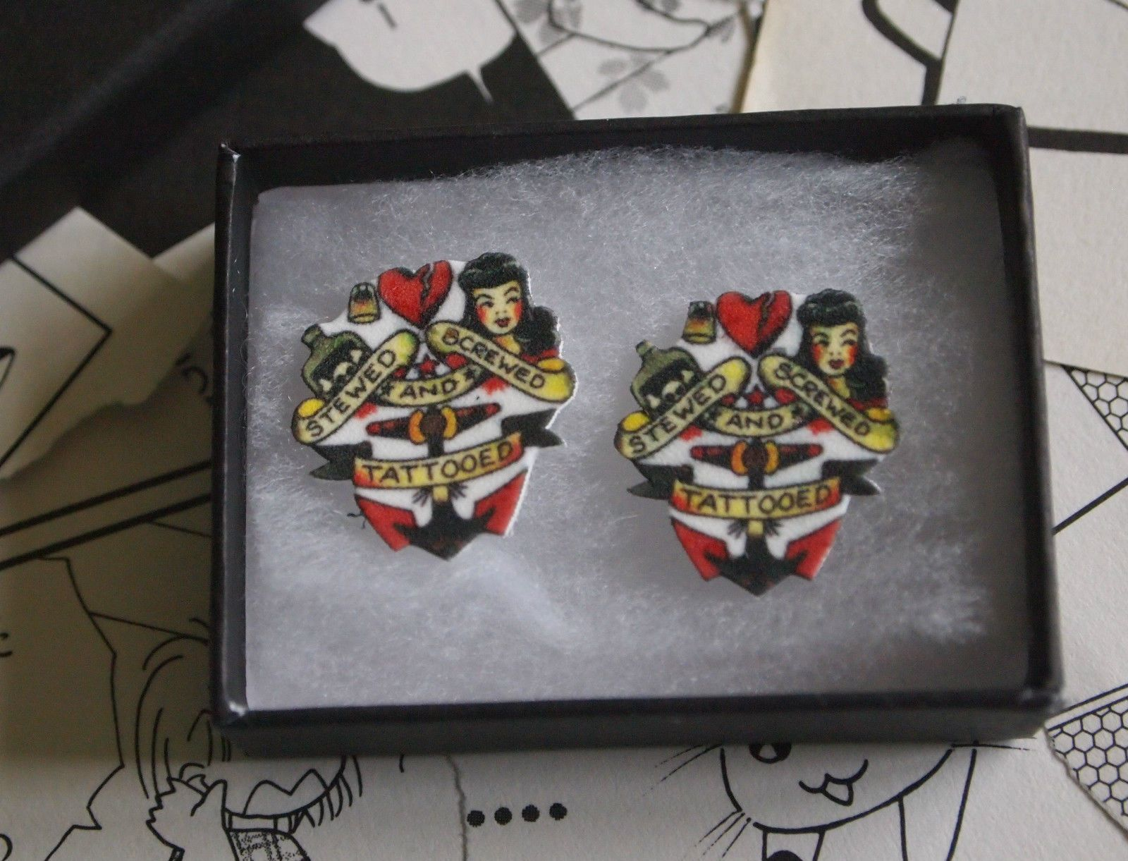 Rockabilly Küchenzubehör Sailor Jerry Stewed Screwed Tattooed Earrings Navy Rockabilly