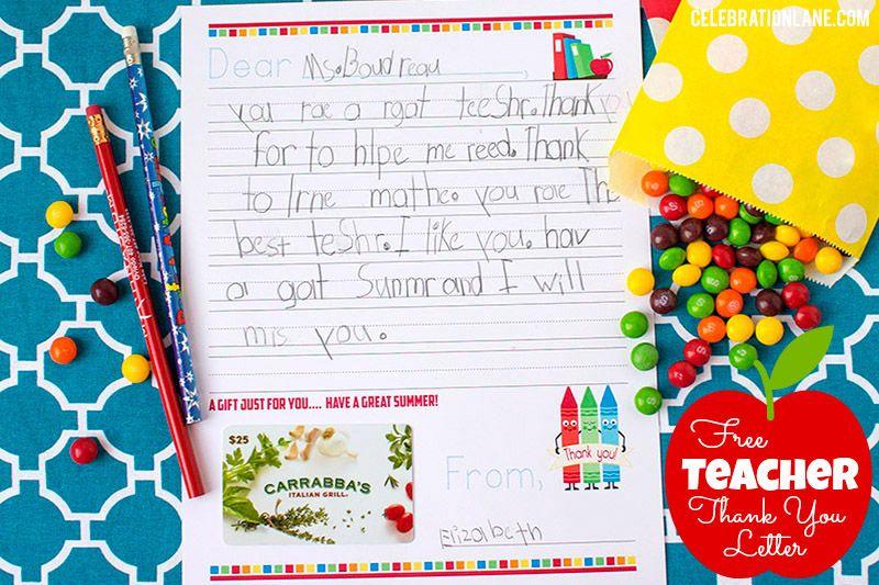 Free Teacher Thank You Letter Gift Idea  Teacher Gifts