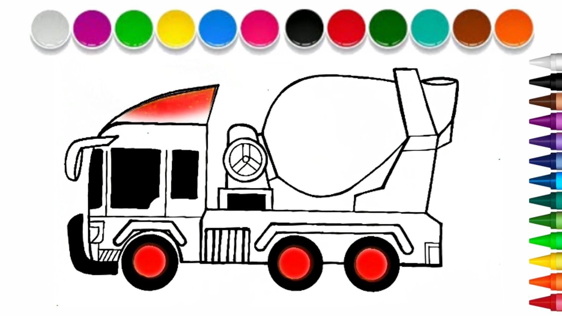 Cara Menggambar Mobil Truk Molen Mudah Untuk Anak Cara Menggambar Truk Belajar Menggambar