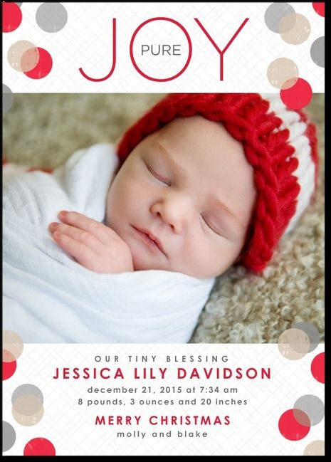 Dots And Joy Bright Red Winter Girl Birth Announcements In Bright - Christmas birth announcement