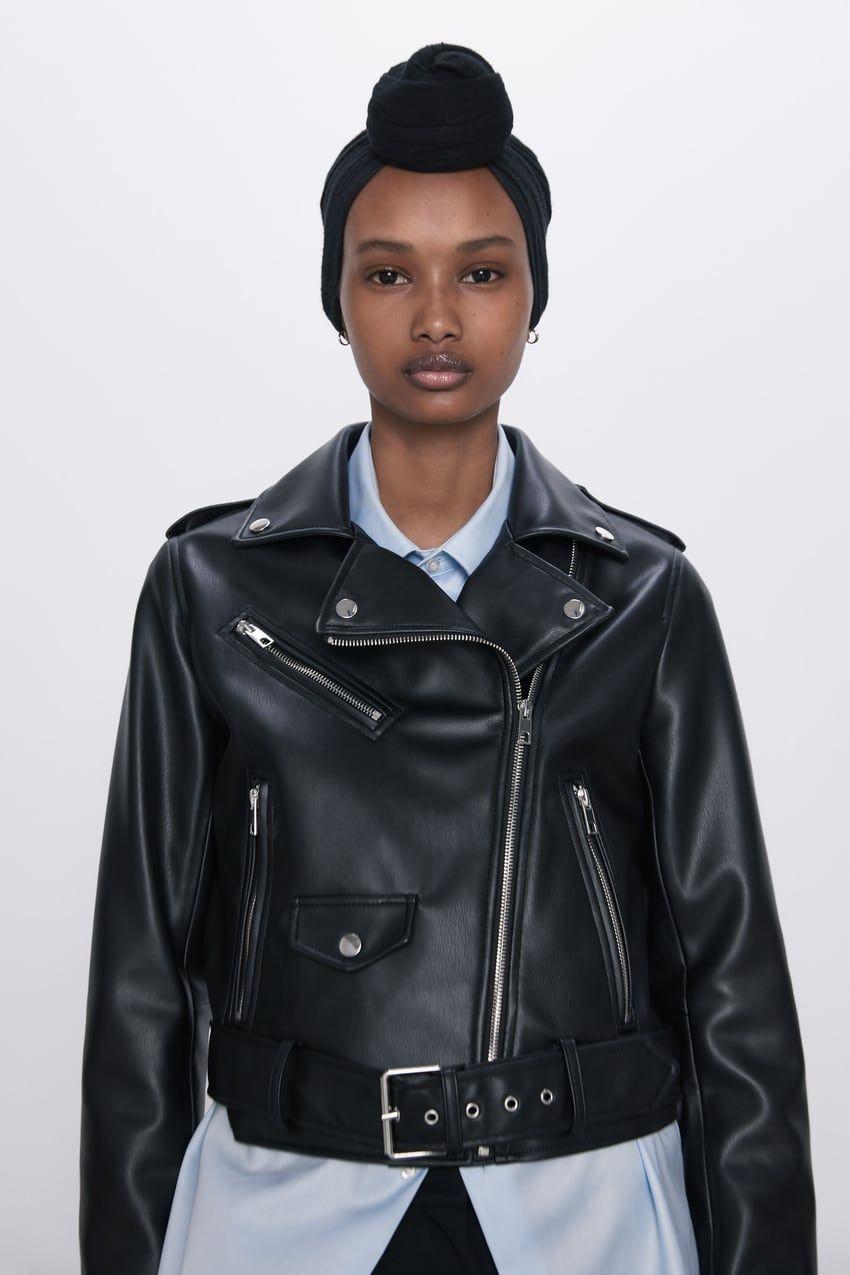 Faux Leather Biker Jacket Zara United States In 2020 Faux Leather Biker Jacket Jackets Biker Jacket