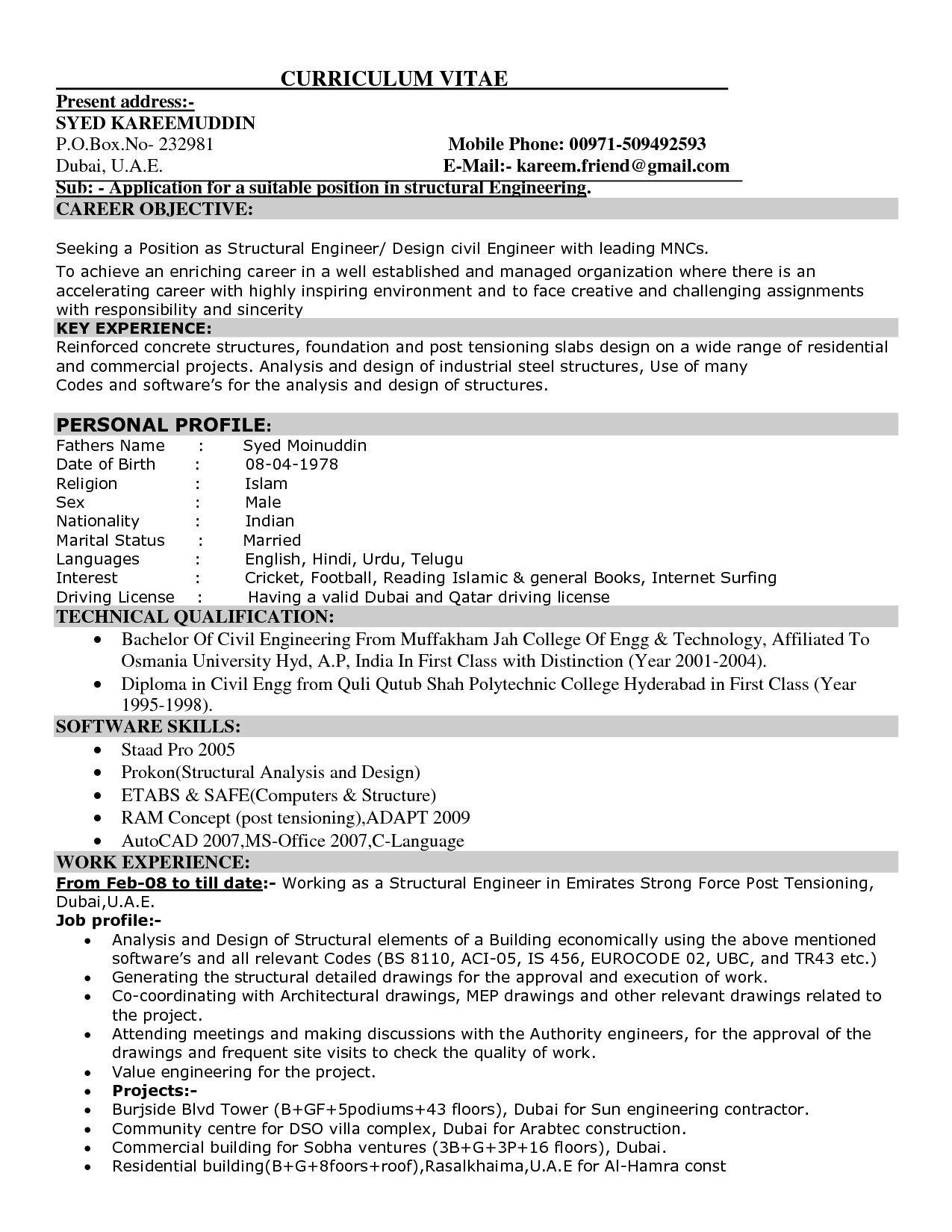 Civil Engineer Job Description Resume - http://jobresumesample.com ...