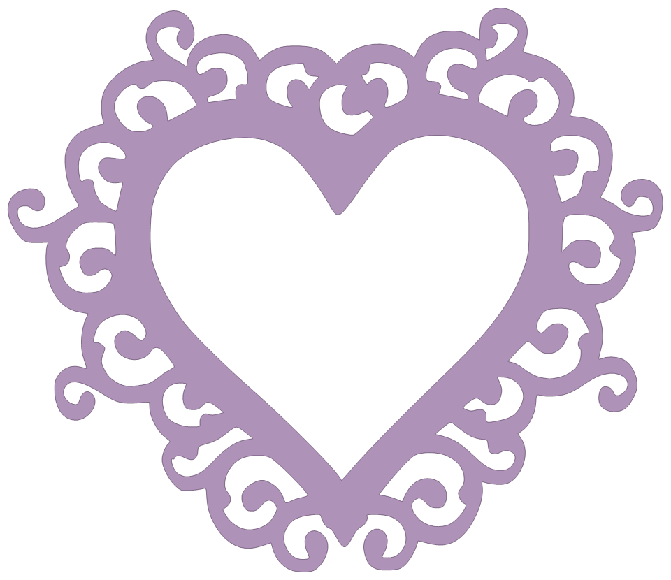 Swirly Heart Frame New SVG File Swirly, Silhouette