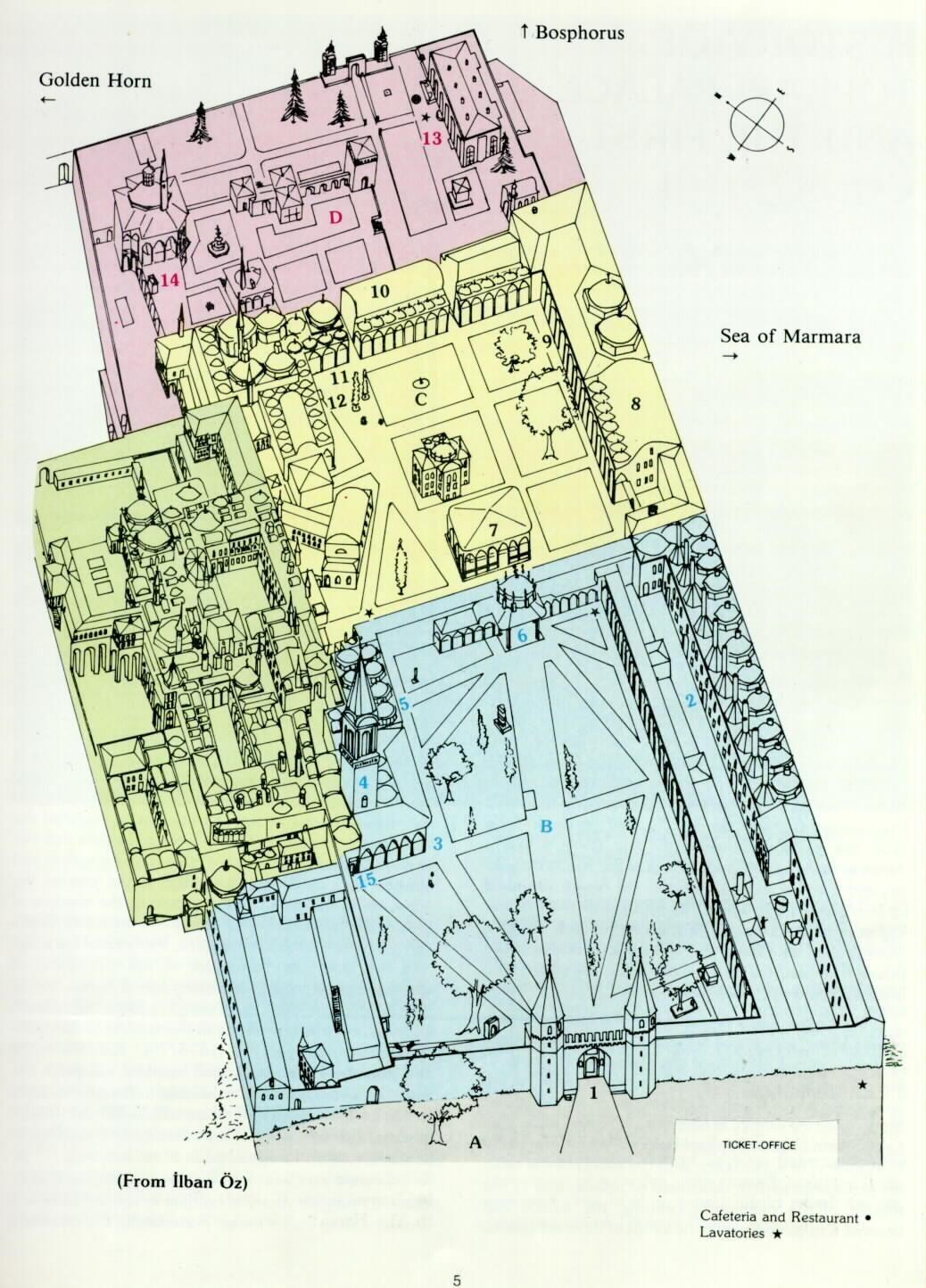 Topkapi Palace: Floor plan of Topkapi palace 1 The middle gate (gate ...