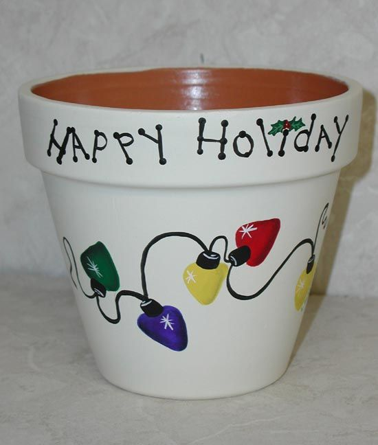 Google Image Result For Http Www Leewismer Com Feb17 Christmas Lights Clay Pot Dd Jpg With Images Clay Flower Pots Flower Pot Crafts Christmas Clay
