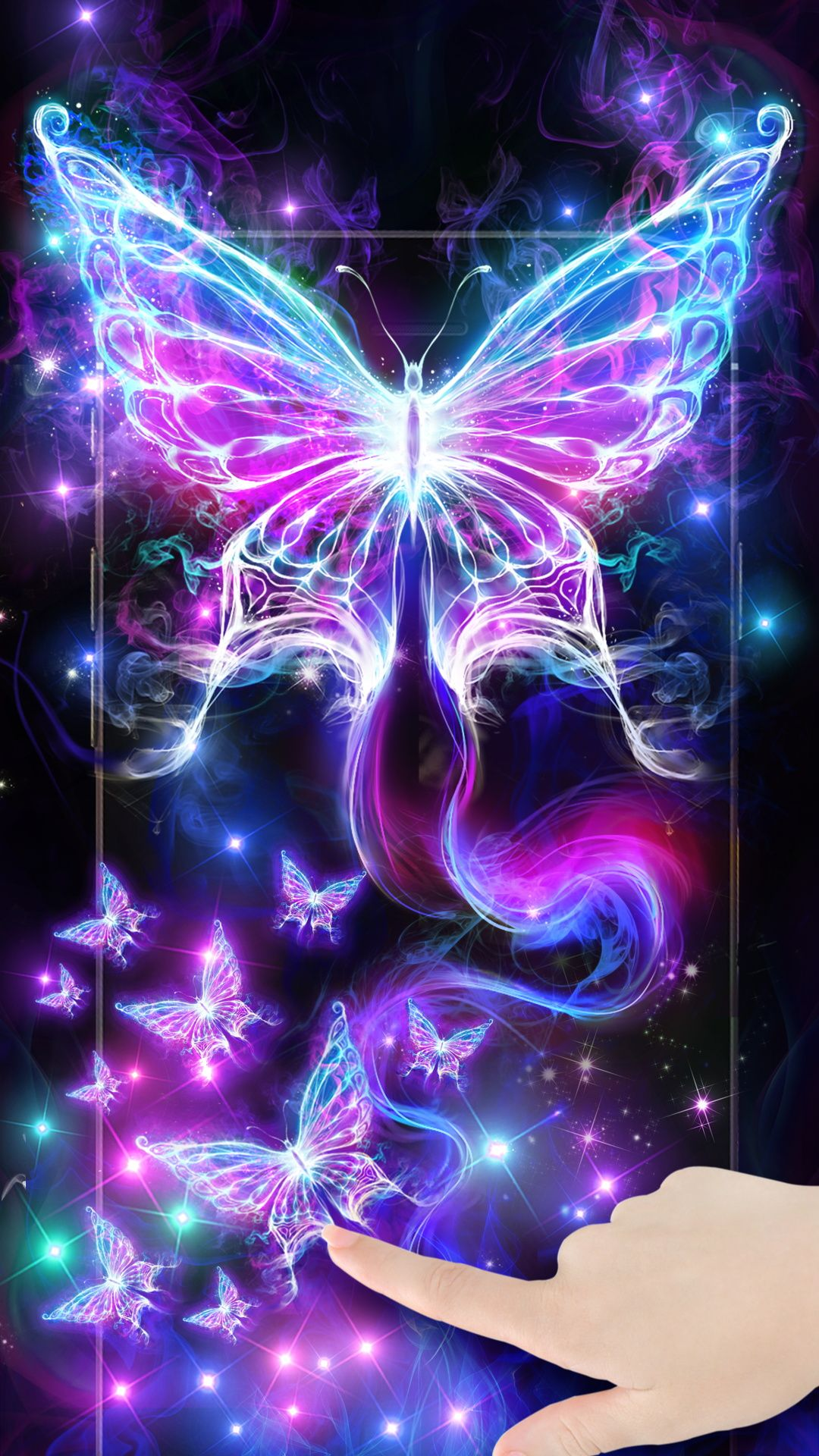 customize your screen with the magic smoking neon butterflies find this pin and more on android live wallpapers