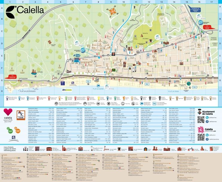Calella hotels and sightseeings map Maps Pinterest Spain and City