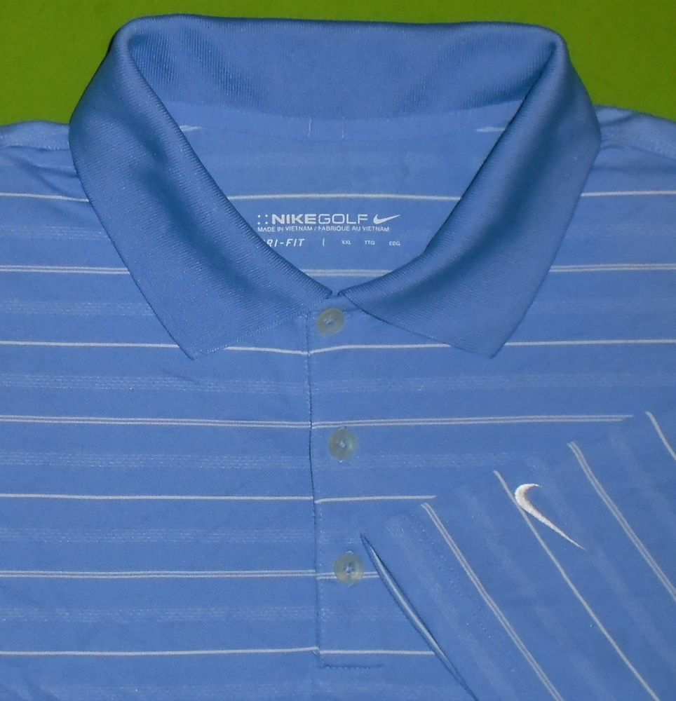 a5703aca7 Nike Golf Dri-Fit Wicking Fabric Polo Shirt Light Blue Striped S S Men size  2XL  NikeGolf  PoloRugby
