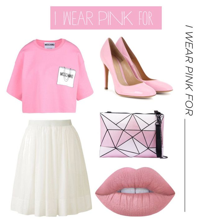 """Untitled #6"" by totsha ❤ liked on Polyvore featuring Moschino, Uniqlo, Gianvito Rossi, Lime Crime and IWearPinkFor"